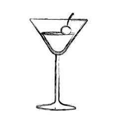 Figure cocktail beverage with cherry icon vector