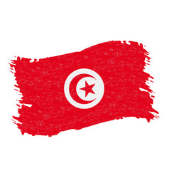 flag of tunisia grunge abstract brush stroke vector image