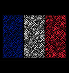 french flag mosaic of trident fork icons vector image