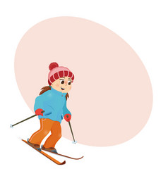 Funny girl skiing downhill with place for text vector