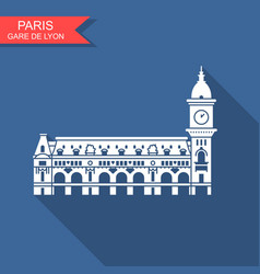 gare de lyon in paris con with long shadow vector image