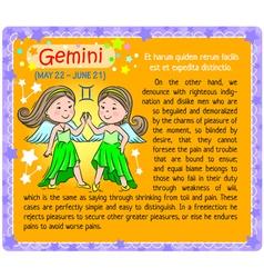 Gemini Zodiac kid vector
