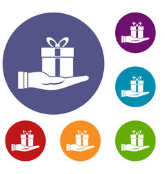 Gift box in hand icons set vector