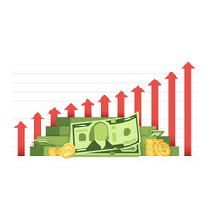 growing business chart with pile of money cash vector image vector image