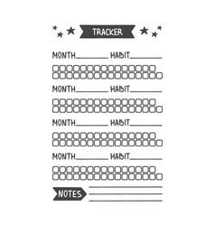 Habit tracker printable organizer vector