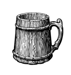Hand-drawn vintage empty wood mug sketch vector
