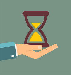 Hand holding hourglass time is money concept vector