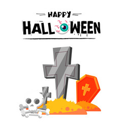happy halloween skull tombstone background vector image