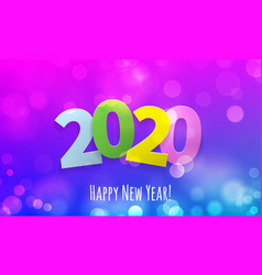 Happy new year 2020 greeting card with bokeh vector