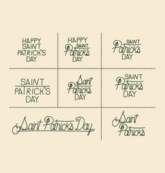 happy saint patricks day sticker text set in green vector image