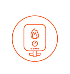Heating system line icon vector