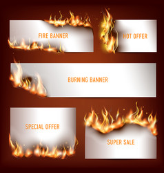 Hot fire strategic advertisement banners set for vector