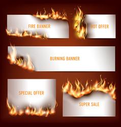 hot fire strategic advertisement banners set vector image