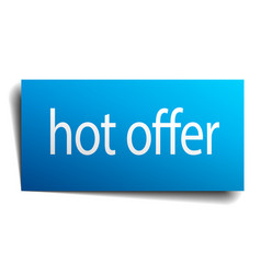Hot offer blue paper sign on white background vector