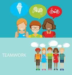 Infographic with children and teamwork vector