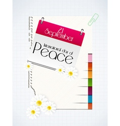 International Day of Peace with calendar vector
