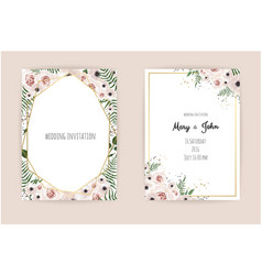 Invitation with handmade floral elements vector