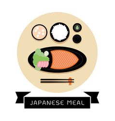 Japanese meal with rice and fresh salmon vector