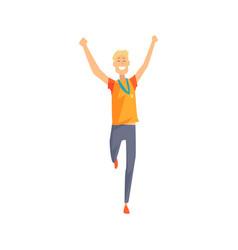 Joyful man character running with hands up vector