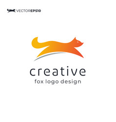 jumping fox symbol for logo design inspiration vector image