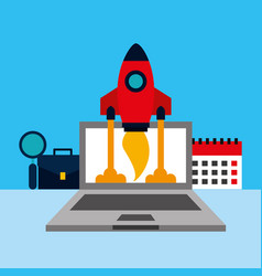 laptop computer with rocket and set icons vector image