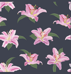 lily flower seamless pattern on blue background vector image