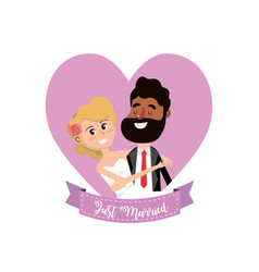 married couple inside of heart and ribbon design vector image