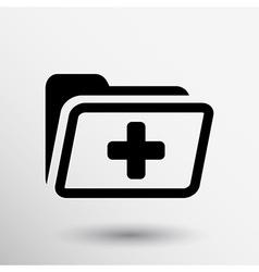 Medical health record folder flat icon vector