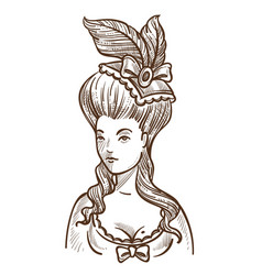 Medieval woman in dress with feathers in head vector