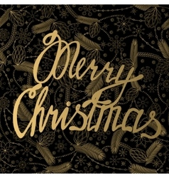 Merry Christmas card on cones pattern vector image