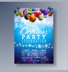 Merry christmas party fliyer design with holiday vector