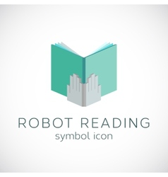Metal Hands With Book Template Robot Reading vector