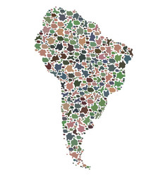 Mosaic map of south america of pebbles vector