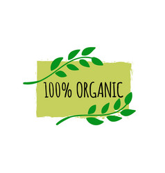 organic food logo hand drawn vegan badge bio vector image