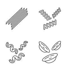 pasta noodles linear icons set vector image