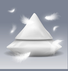 pyramide from pillows with white feathers vector image