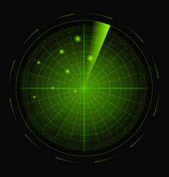 realistic detailed 3d radar with targets card vector image