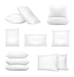 realistic white pillows mockup set vector image