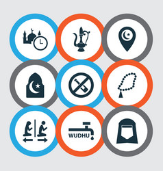 religion icons set with shawl lamp time and vector image