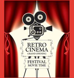 retro cinema poster with camera and red curtains vector image