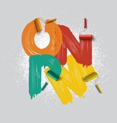 Roller brush font vector