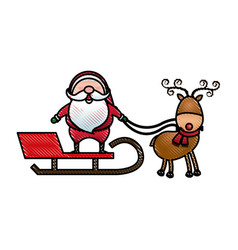 santa claus rides in a sleigh in harness on the vector image