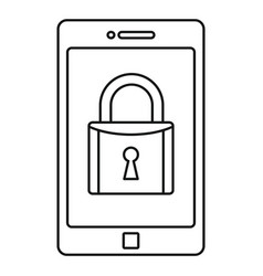 secured smartphone icon outline style vector image