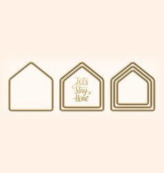 set golden frames in shape houses vector image