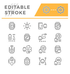 set line icons of smart watch vector image