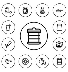 set of 12 editable cook outline icons includes vector image