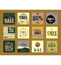 Set of artistic creative autumn sale cards vector