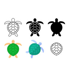 Set turtle icons and sign in art vector