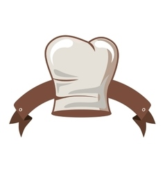 Silhouette of chefs hat elongated and ribbon vector