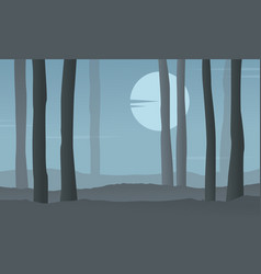 Silhouette of forest at night with moon vector